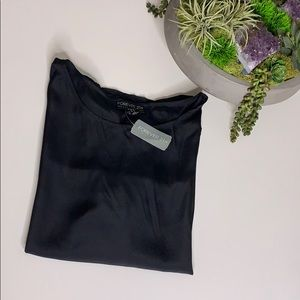 NWT Black Forever 21 Cuffed Micro Sleeve Shirt